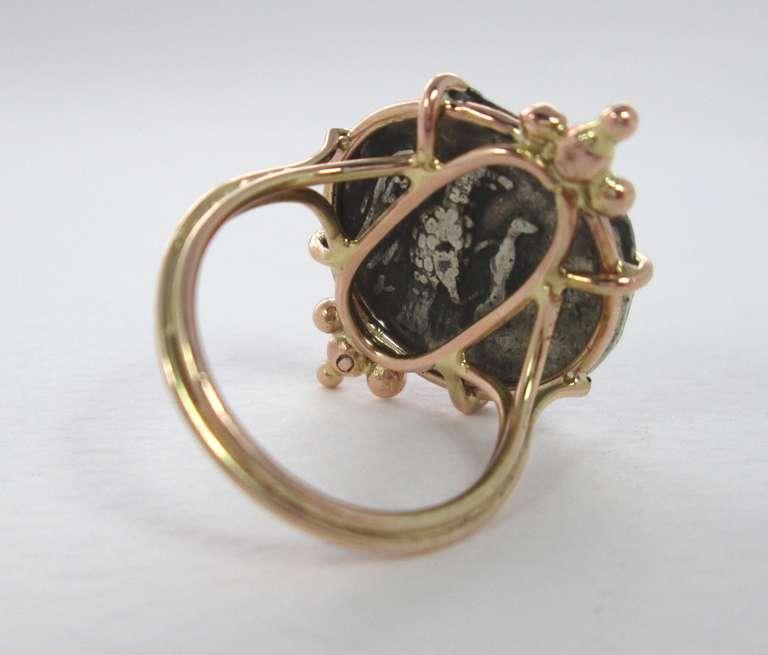 A Greek Silver Athena Coin mounted in a Gold Ring 2