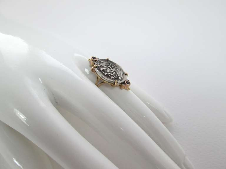A Greek Silver Hercules Coin mounted in a Gold Ring 4