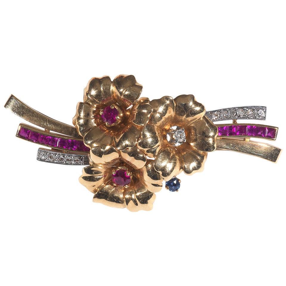 Ruby Sapphire Diamond Gold Retro Flower Brooch