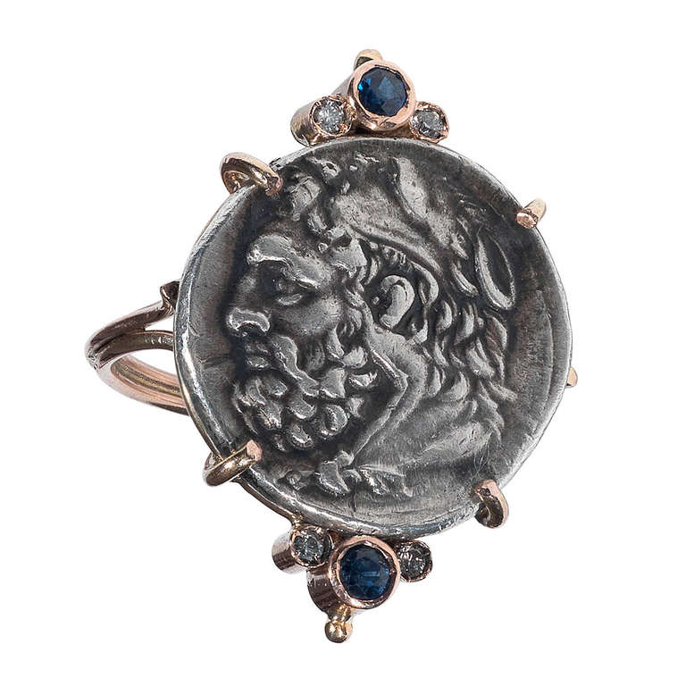 A Greek Silver Hercules Coin mounted in a Gold Ring 1
