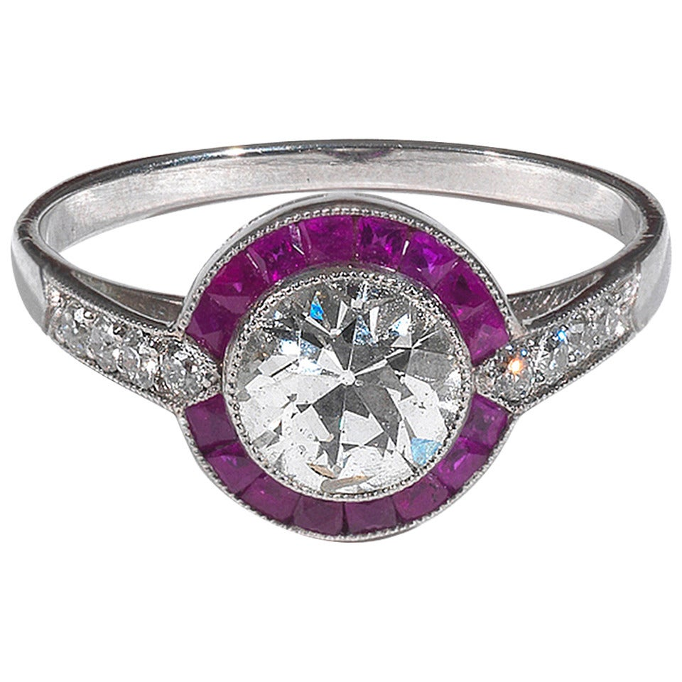 Art Deco Diamond Ruby Platinum Cluster Ring 1