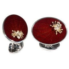 Deakin & Francis Enamel Silver Spider Cufflinks