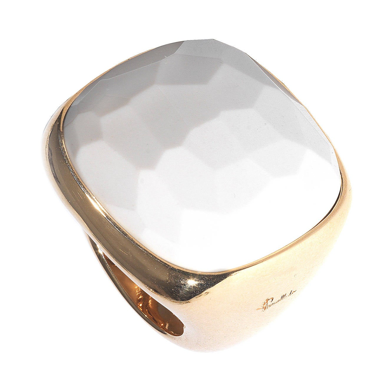 pomellato white agate gold ring at 1stdibs