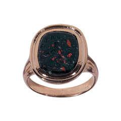 Antique Bloodstone Monkey Intaglio Ring