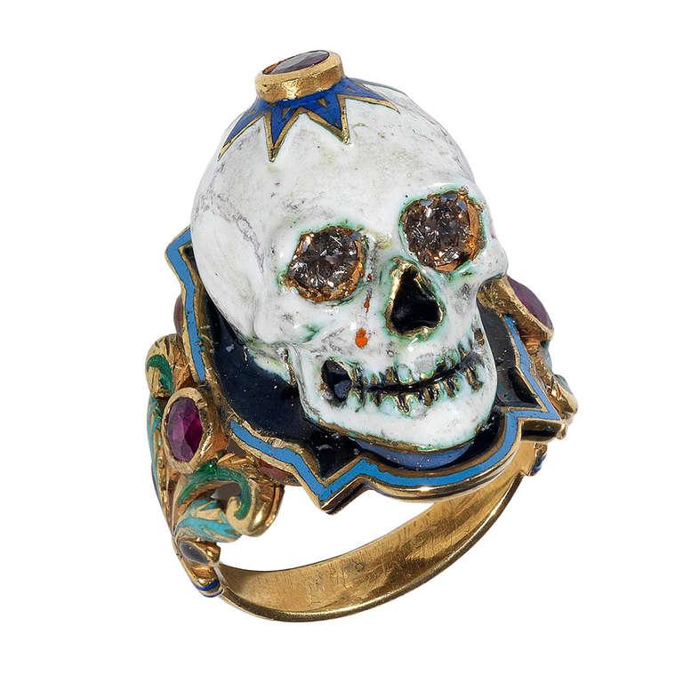 enamel gold skull ring