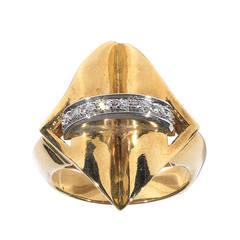 Retro Diamond Two Color Gold Ring