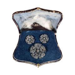 A Victorian Diamond Flowerhead Brooch/Pendant and pair of Earrings en suite
