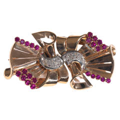 Ruby Diamond Platinum Gold Retro Double Clip Brooch