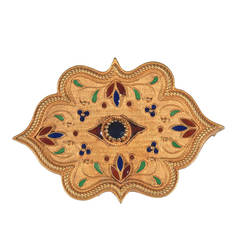 Multicolored Enamel Sapphire Gold Medieval Florentine Style Brooch