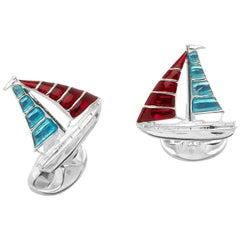 Deakin & Francis Silver Yacht Cufflinks