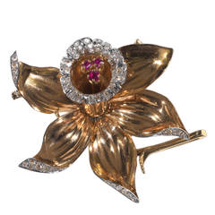 Retro Ruby Diamond Gold Platinum Flower Brooch