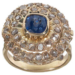Sapphire Rose Diamond Gold Cluster Ring