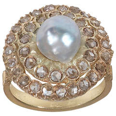 Baroque Pearl Diamond Cluster Ring