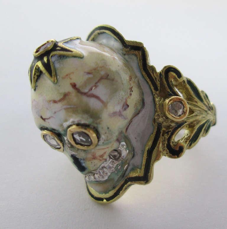 an enamel gold skull ring at 1stdibs