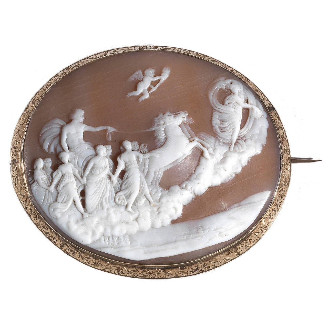 antique shell gold cameo brooch at 1stdibs