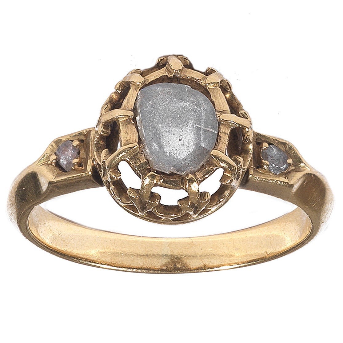 Antique Rose Diamond Gold Cluster Ring 1