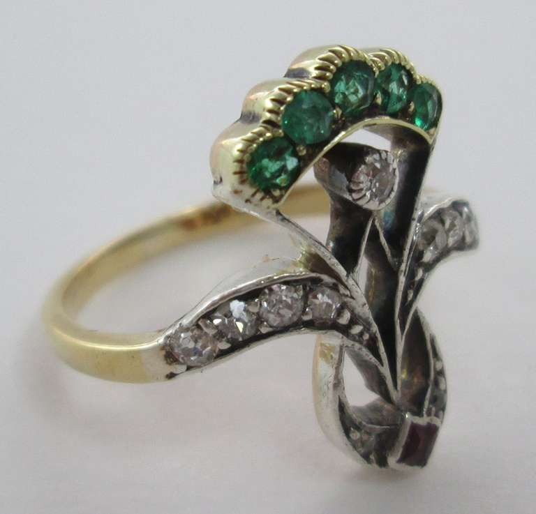An Antique Emerald Ruby Diamond Ring 3