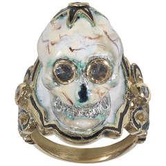 An Enamel Diamond Gold Skull Ring