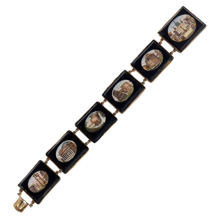 19th Century Gold Micromosaic Bracelet For Sale