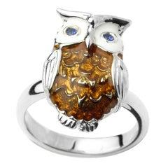 Deakin & Francis Enamel Silver Owl Ring