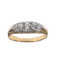 Five Stone Diamond Gold Carved Half Hoop Ring