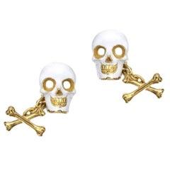White Enamel Gold Skull and Crossbones Cufflinks