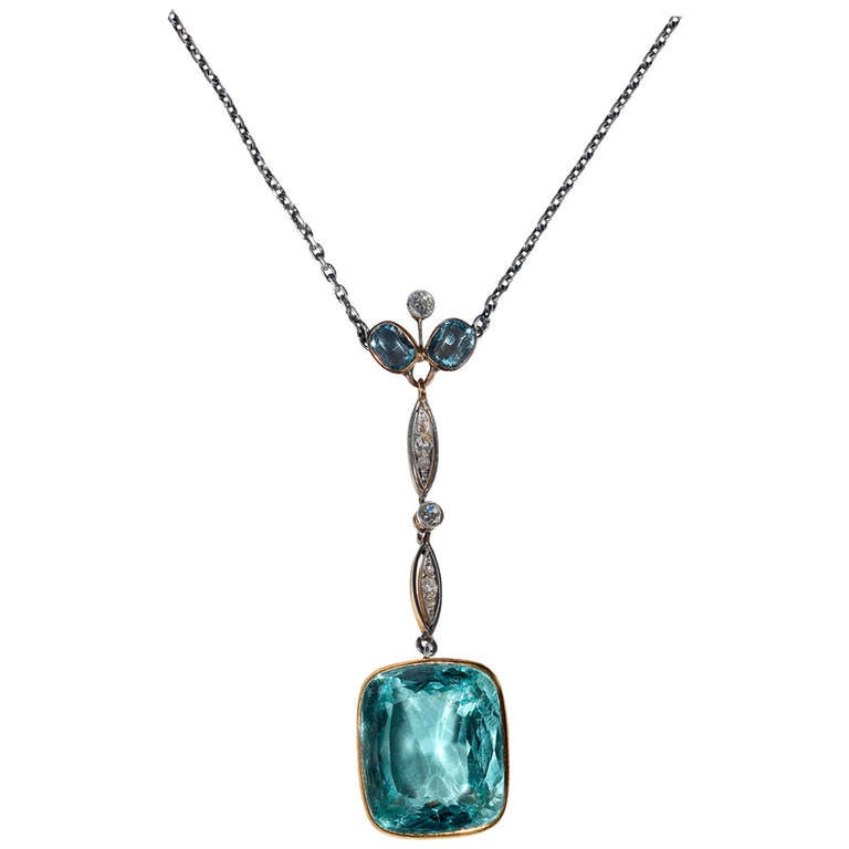 Aquamarine Diamond Gold Platinum Pendant Necklace