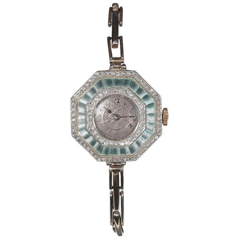 Art Deco Ladies Platinum Gold Diamond Enamel Bracelet Manual Wind Wristwatch