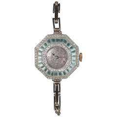 Art Deco Ladies Platinum Gold Diamond Enamel Bracelet Manual Wind Wristwatch