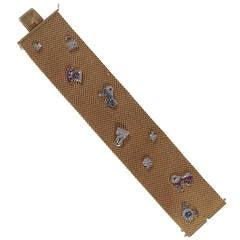 Retro Ruby Sapphire Diamond Platinum Gold Applique Charm Bracelet