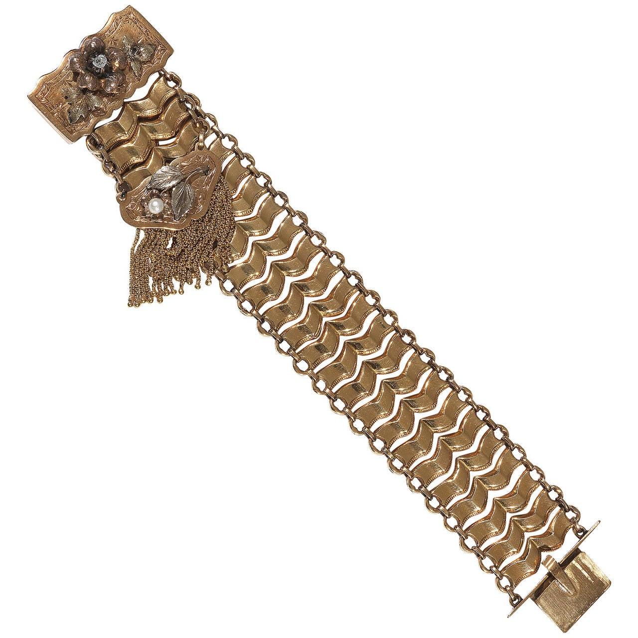 Antique Pearl Diamond Gold Tassel Link Bracelet