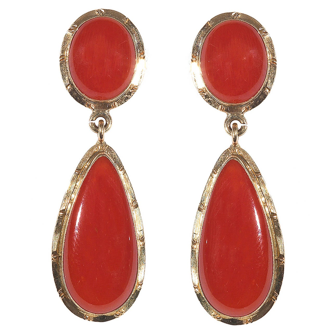 coral gold drop earrings at 1stdibs