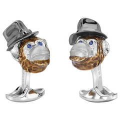 Deakin & Francis Silver Chimpanzee with Hat Cufflinks