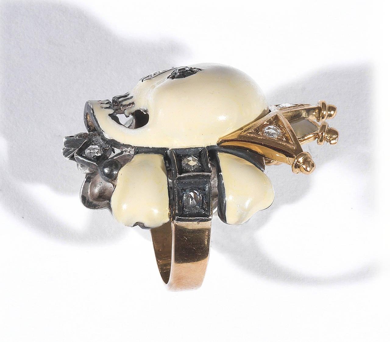 Attilio Codognato Enamel Rose Cut Diamond Skull And Crown