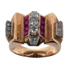 A Retro Ruby Diamond Rose Gold Ring circa 1940