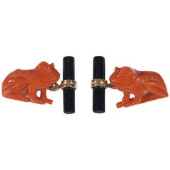 Coral Onyx Gold Frog Cufflinks