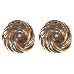 Tricolor Gold Bombe Earrings