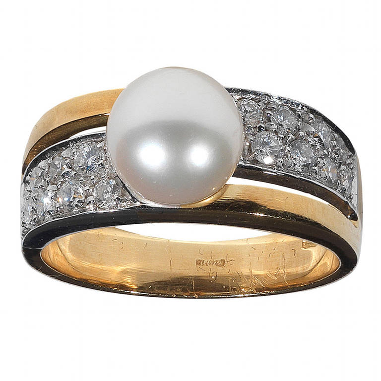 Cultured Pearl Diamond Ring at 1stdibs