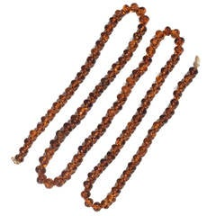 Amber Oval Bead Long Necklace