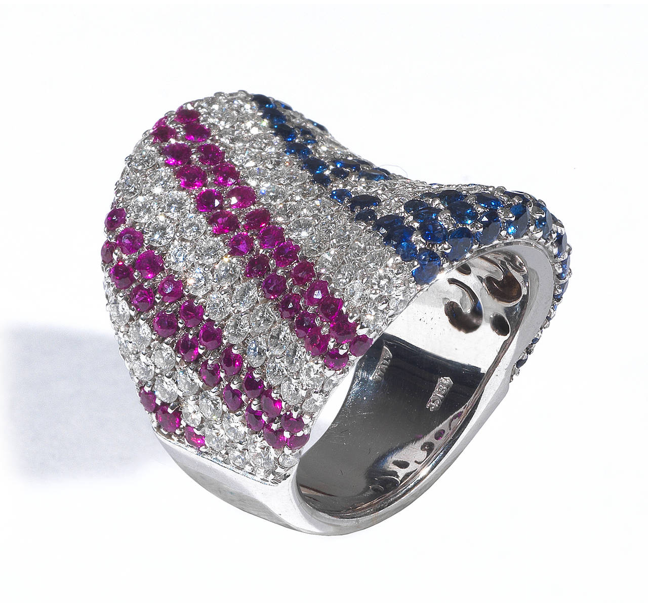 Ruby Sapphire Diamond American Flag Ring For Sale At 1stdibs
