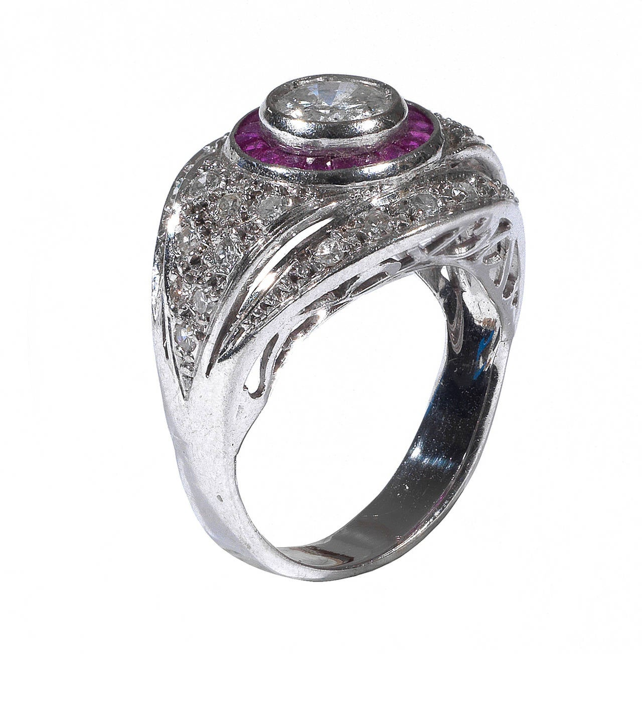 Art Deco Ruby Diamond Platinum Engagement Ring 2