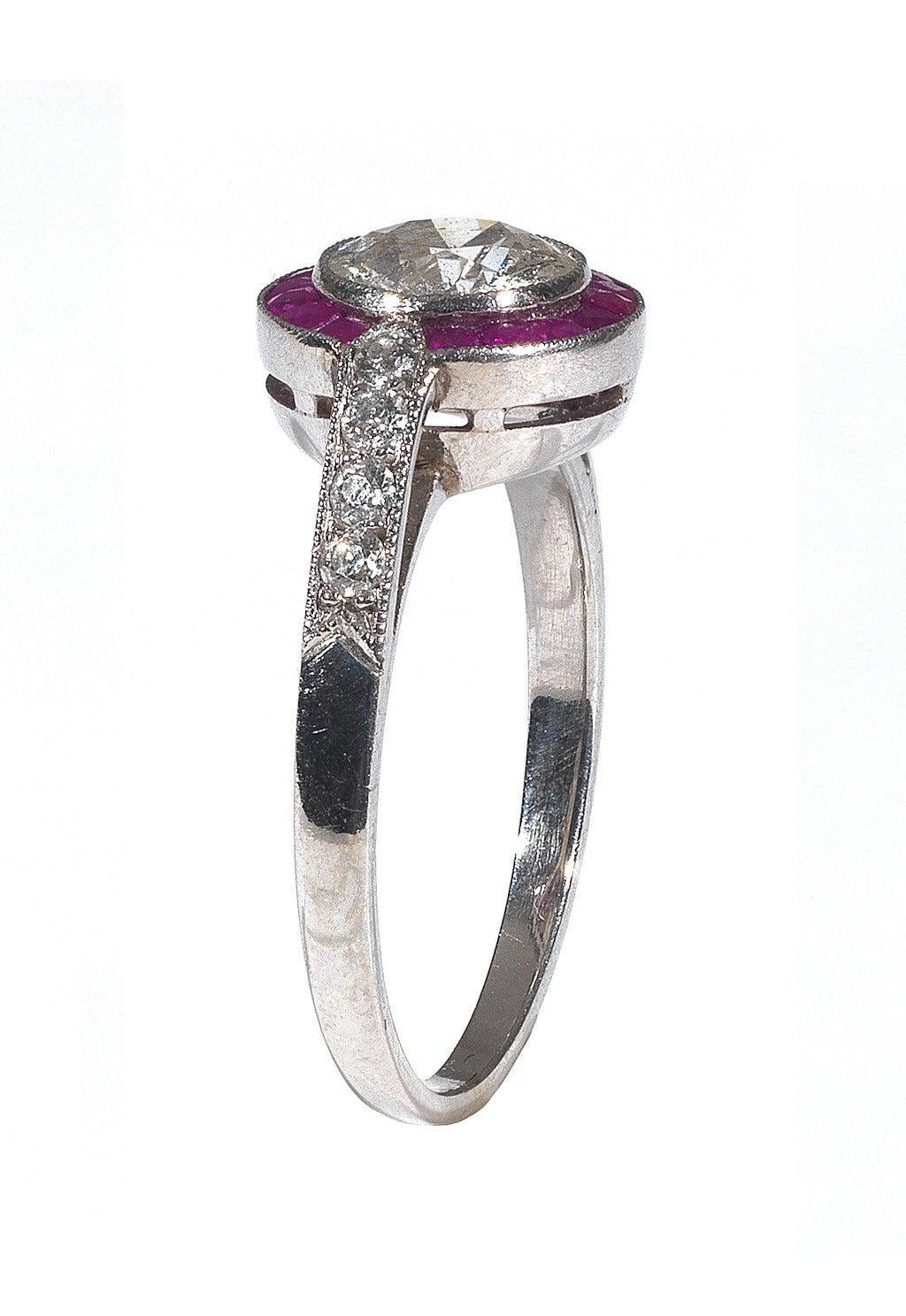 Art Deco Diamond Ruby Platinum Cluster Ring 2