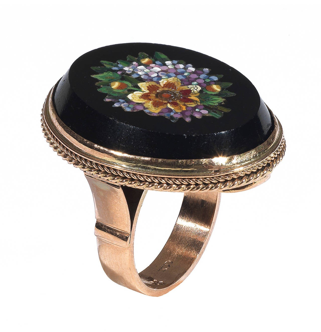 19th Century Italian Micromosaic Gold Flower Ring 2