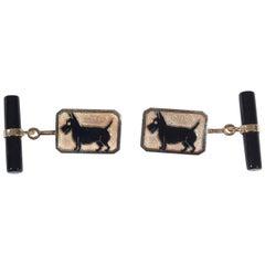 Enamel Gold Scottish Terrier Cufflinks