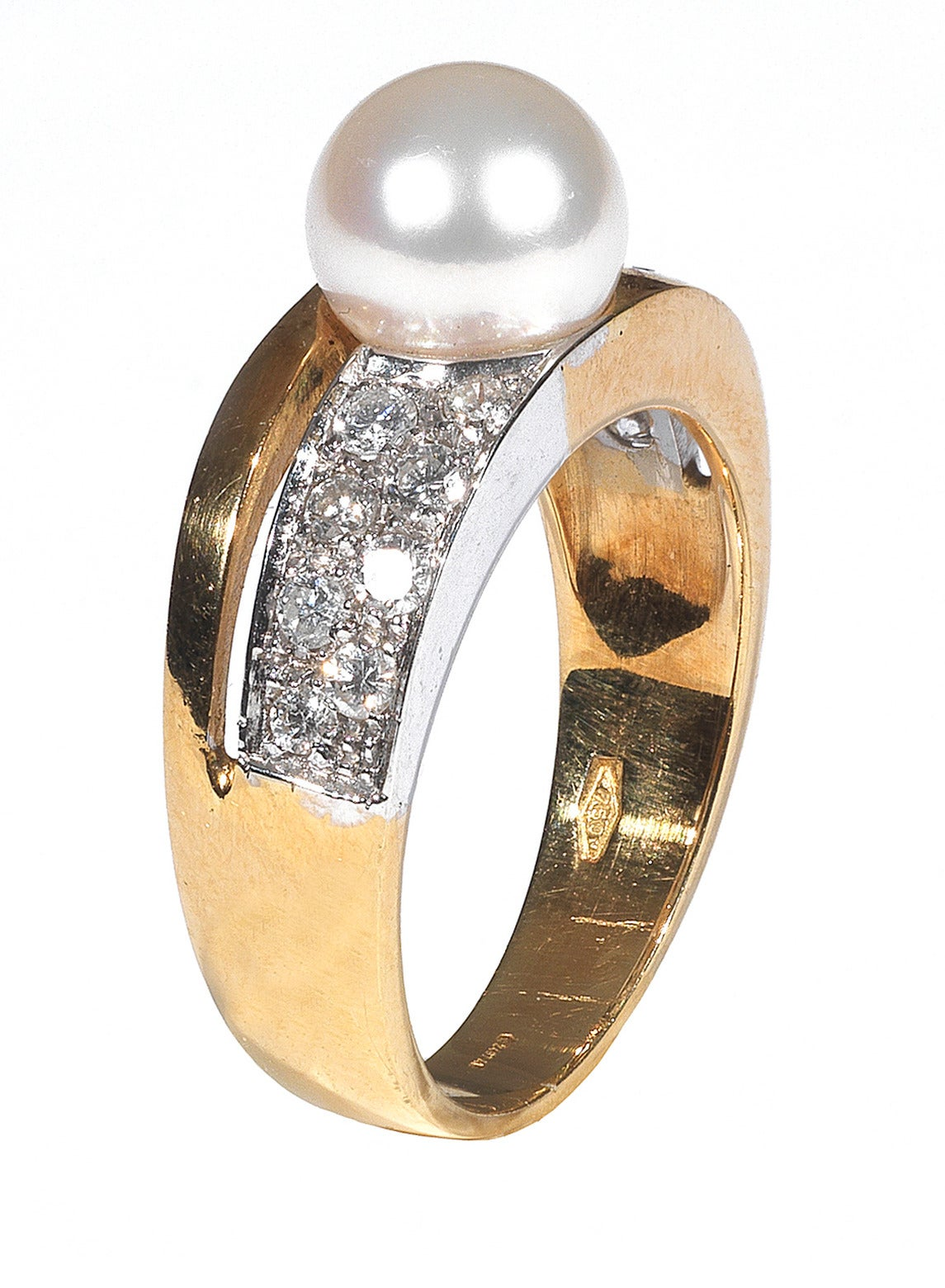 Cultured Pearl Diamond Ring For Sale at 1stdibs