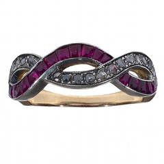 Ruby Diamond Silver Gold Crossover Ring