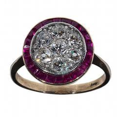 Ruby Diamond Gold Platinum Cluster Ring