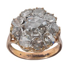 Antique Rose Cut Diamond Gold Cluster Ring