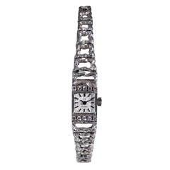 Omega Ladies White Gold Diamond Bracelet Wristwatch, circa 1960s