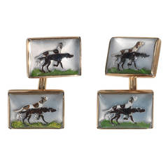 Reverse Painted Carved Rock Crystal and Gold Hunter Dog Cufflinks